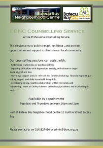 Counselling Service starting Feb 2017